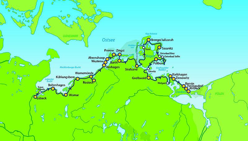 Ostseeradweg Lübeck Stralsund Karte.Mec 10 Mv Lübeck Usedom Ostsee Radtouren