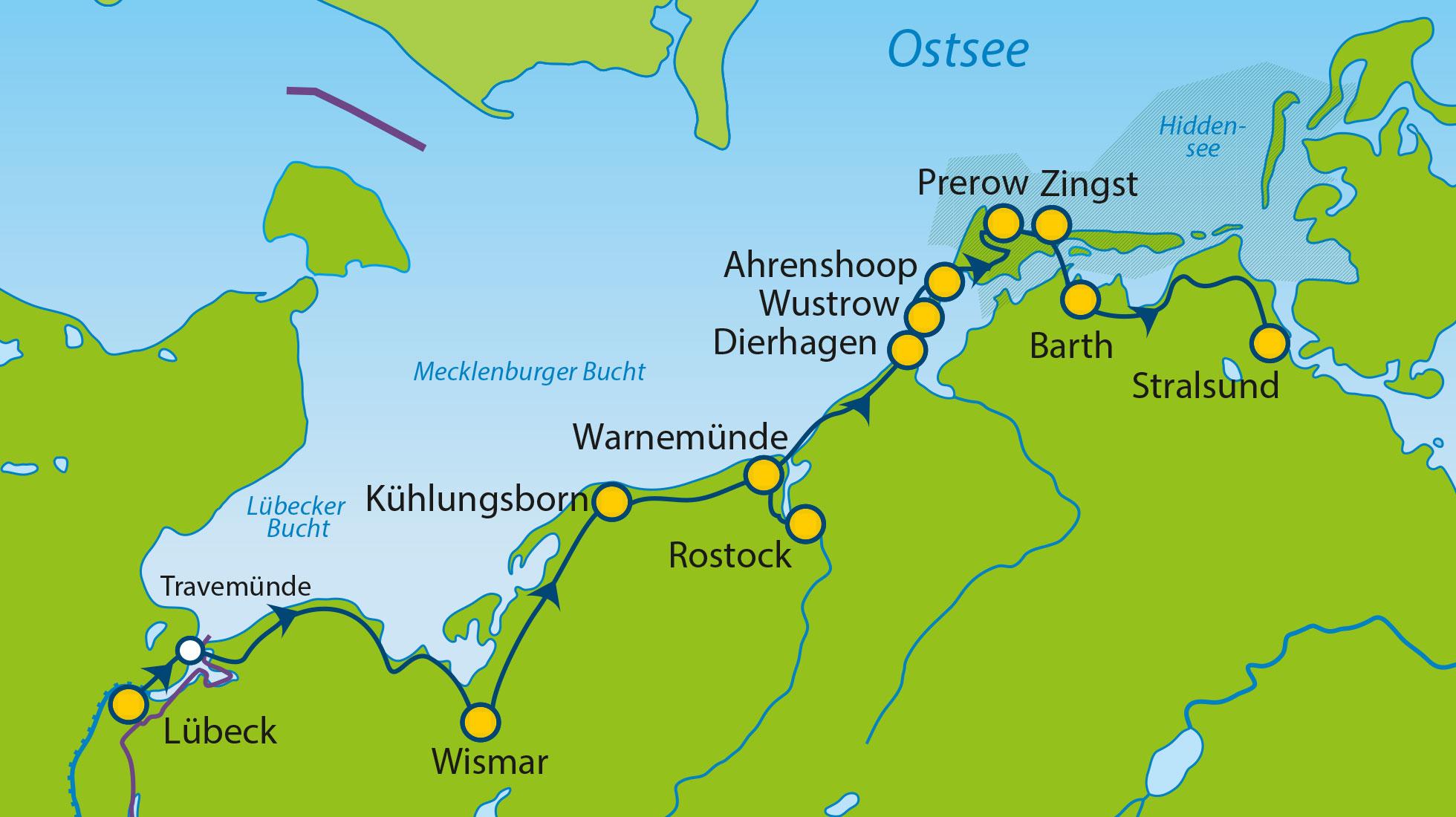 Ostseeradweg Lübeck Stralsund Karte.Mec 30 31 Bt Lübeck Stralsund Exklusiv Ostsee Radtouren