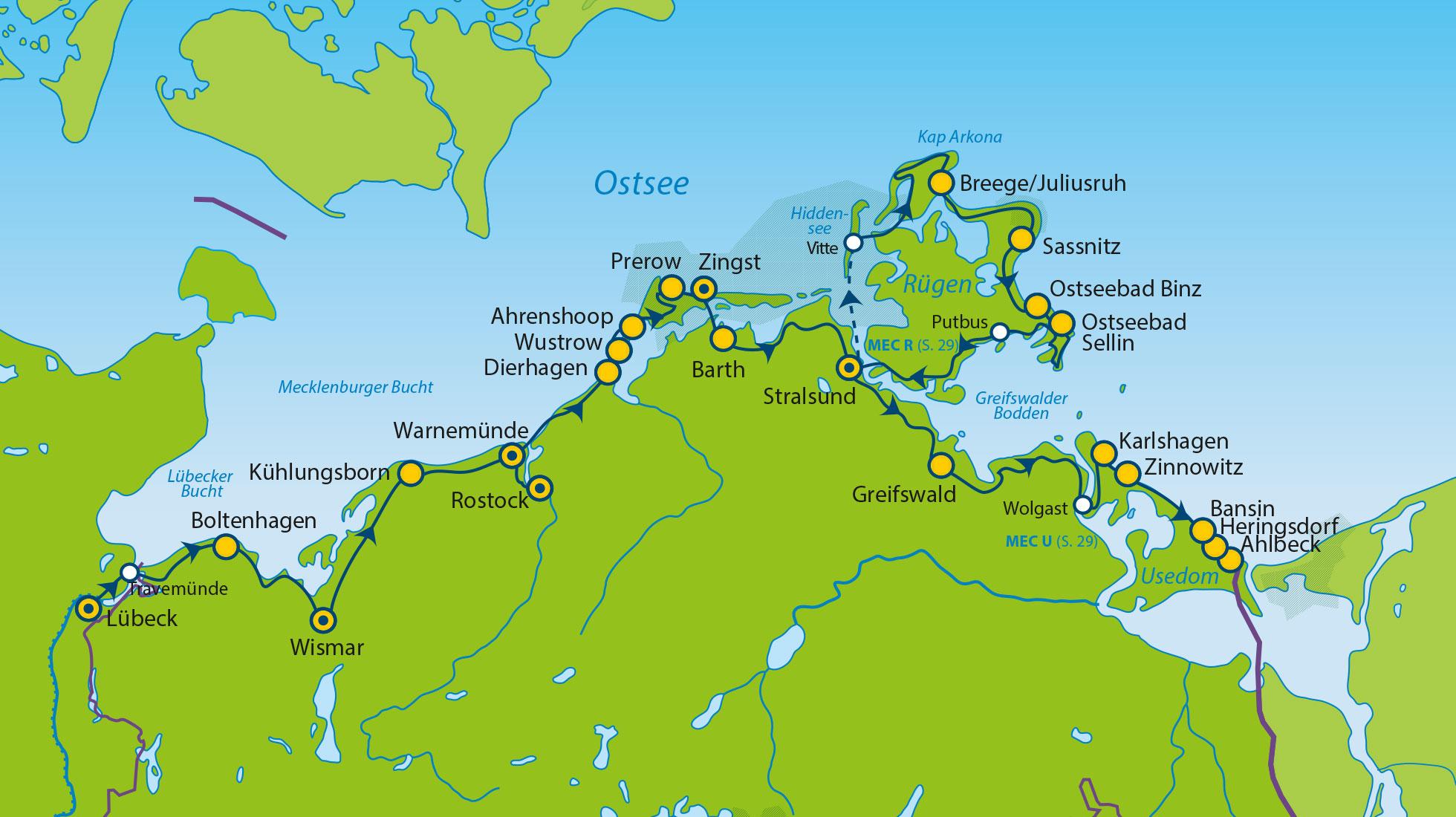 Ostseeradweg Lübeck Stralsund Karte.Mec Ru Rüg Ostsee Radweg Variationen Ostsee Radtouren